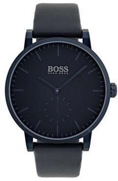 BOSS Hugo Men's Essence Blue Leather Strap Watch 42mm
