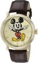 Disney Men's W001848 Mickey Mouse Analog Display Analog Quartz Brown Watch
