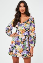 Missguided Purple Floral Milkmaid Skater Dress