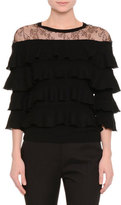 Valentino Tiered-Ruffle Top W/Lace Yoke, Black