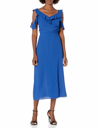 James & Erin Women's High Neck Ruffle Detail Maxi
