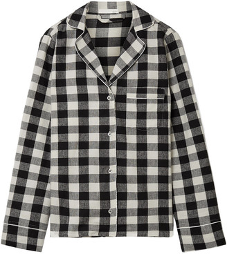Skin Checked Cotton-flannel Pajama Shirt