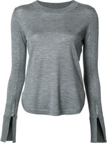 Chloé split sleeve knitted top - women - Silk/Acetate/Virgin Wool - XS