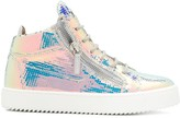 Giuseppe Zanotti High Top Holographic Sneakers
