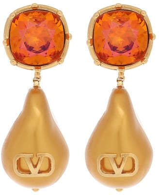 Valentino VLOGO drop earrings with crystals and resin pearls