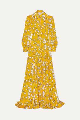 Carolina Herrera Floral-print Satin-twill Gown - Yellow