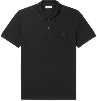 Alexander McQueen Slim-Fit Skull-Embellished Organic Cotton-Pique Polo Shirt
