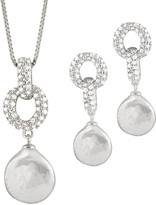Splendid Pearls Silver 11-12Mm Freshwater Pearl & Cz Drop Earrings & Necklace Set