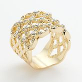 Sidney michaels gold tone simulated crystal openwork basket weave ring