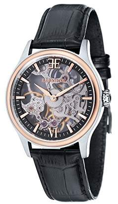 Thomas Laboratories Earnshaw Earnhshaw Men's Bauer Shadow Mechanical Watch with Black Dial Skeleton Display and Black Leather Strap ES-8061-07