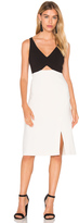 Halston V Neck Colorblock Sleeveless Dress