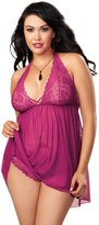 Dreamgirl Women's Plus-Size Mesh Lace Babydoll and Tanga Panty Set