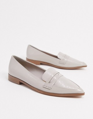 ASOS DESIGN Maltby pointed loafers in grey croc