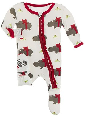 Kickee Pants Kids Muffin Ruffle Footie with Zipper (Toddler) (Natural Christmas Hippo) Girl's Jumpsuit & Rompers One Piece