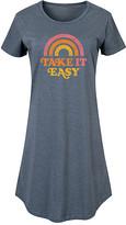 Instant Message Women's Women's Tee Shirt Dresses HEATHER - Heather Blue 'Take It Easy' Short-Sleeve Dress - Women & Plus