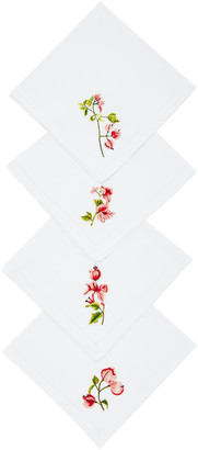 Ibaba Rwanda Set-Of-Four Embroidered Linen Napkins