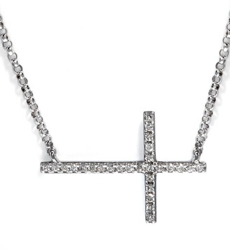 Effy Pave Classica 14K White Gold Diamond East/West Cross Necklace