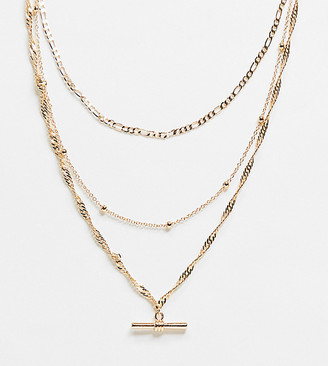 ASOS DESIGN Curve multirow necklace with mixed chain and t bar pendant in gold tone