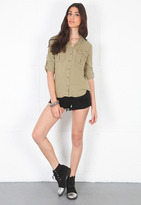 Singer22 Bella Dahl Military Button Down Shirt in Fatigue