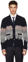 Thom Browne Navy Fair Isle Classic V-neck Cardigan