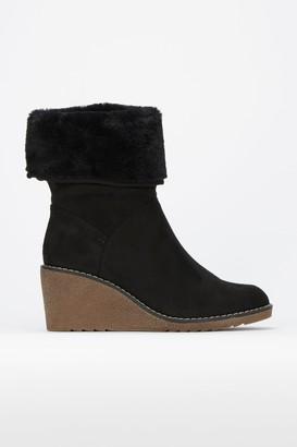 Wallis Black Fur Cuff Wedge Boot