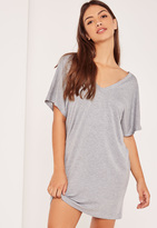 Missguided Grey Petite Wide Neck T-Shirt Dress