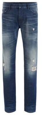 HUGO BOSS - Regular Fit Jeans In Distressed Candiani Denim - Blue
