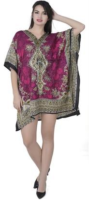 SKAVIJ Women's Tunic Viscose Caftan Short Loose Casual Dress (Free Size