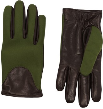 Kagawa Gloves Green And Black Leather And Neoprene Gloves