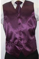Ferrecci Men's Shiny Dark Purple Microfiber 3-piece Vest