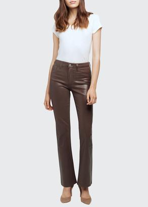 L'Agence Oriana Coated Straight-Leg Jeans
