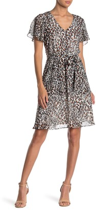 Sharagano Leopard Print Flutter Sleeve Fit & Flare Dress