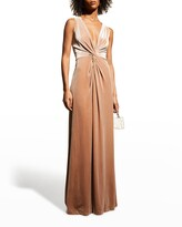 Thumbnail for your product : Halston Kinsey V-Neck Knot-Front Velvet Gown