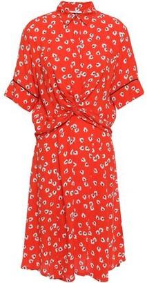 Ganni Silvery Twist-front Floral-print Crepe Dress