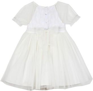 Laura Ashley Embroidered Mesh Dress (Toddler & Little Girls)