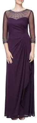 Alex Evenings Rhinestone Illusion Pleated A-Line Gown
