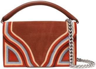 Diane von Furstenberg Bonne Soiree Leather-paneled Striped Suede Shoulder Bag