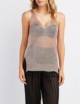 Charlotte Russe Metallic Open Knit Tunic