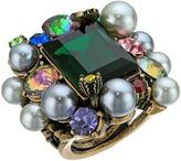 Betsey Johnson Rose Hematite/Multi Cluster Ring Ring
