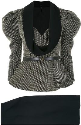 Saiid Kobeisy Puffed Sleeve Belted Dress