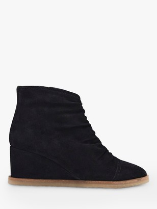 White Stuff Suede Ruched Shoe Boots, Black