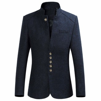 Generic Men's Winter Wool Blend Pea Blazer Single Breasted Military Peacoat Jacket Stylish Premium Wool Trench Coat (Navy Blue 6X-Large)