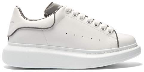Alexander McQueen Raised Sole Reflective Low Top Leather Trainers - Womens - Grey White
