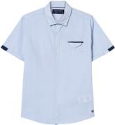 Mayoral Blue Patterned Short Sleeve Shirt