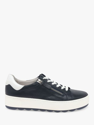 Gabor Wide Fit Quench Leather Comfort Flatform Trainers, Navy