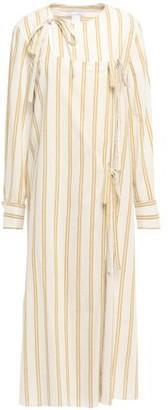 Oscar de la Renta Striped Cotton And Ramie-blend Midi Wrap Dress