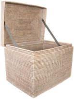 Trunks Artifacts Trading Company Artifacts Rattan Rectangular Hinged Chest, White Wash, Medium