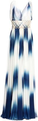 Oscar de la Renta Lattice-Waist Cape Gown