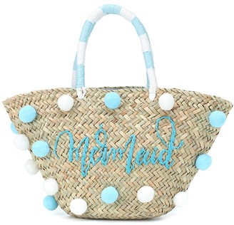 MonnaLisa Embellished woven straw tote