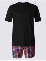M&s Collection Pure Cotton Checked Pyjama Shorts Set